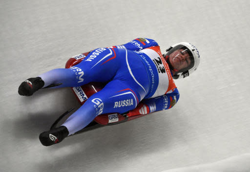 Tatyana Ivanova of Russia speeds down the track during a women's race at the Luge World Cup event in Sigulda, Latvia, Saturday, Jan. 12, 2019. (AP Photo/Roman Koksarov)