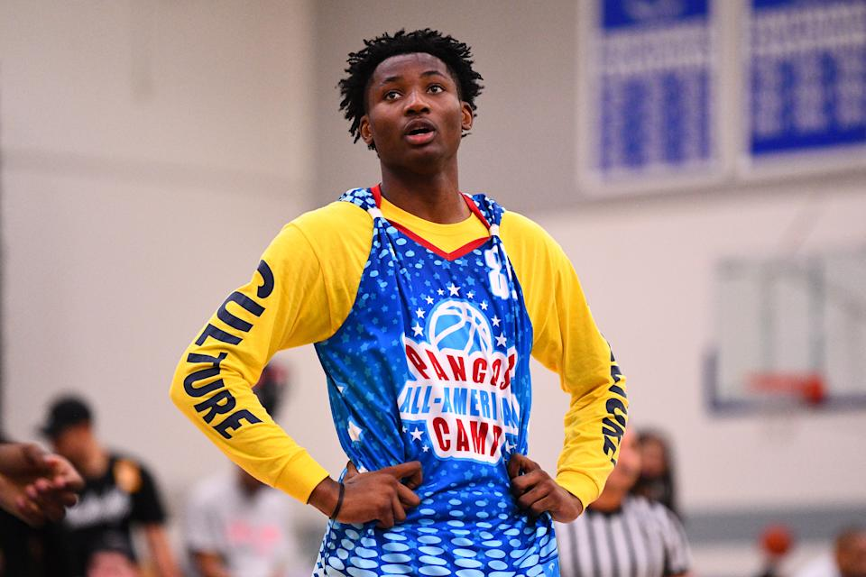 NORWALK, CA - JUNE 02: Jonathan Kuminga from Our Savior New America looks on during the Pangos All-American Camp on June 2, 2019 at Cerritos College in Norwalk, CA. (Photo by Brian Rothmuller/Icon Sportswire via Getty Images)