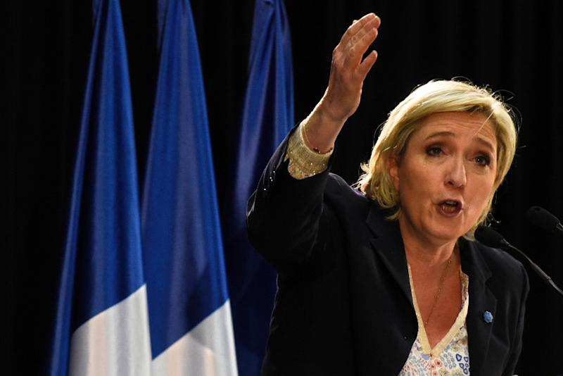 French presidential election candidate for the far-right Front National (FN) party, Marine Le Pen speaks during a public rally on February 24, 2017 in Pierrelatte (AFP Photo/JEAN-PHILIPPE KSIAZEK)