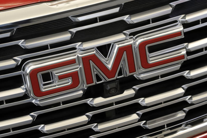 This is the GMC logo on the front grill of a 2019 Terrain AWD Denali automobile on display at the 2019 Pittsburgh International Auto Show in Pittsburgh Thursday, Feb. 14, 2019. (AP Photo/Gene J. Puskar)