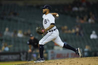 Detroit Tigers' Harold Castro pitches in the ninth inning of a baseball game against the Houston Astros in Detroit, Thursday, June 24, 2021. (AP Photo/Paul Sancya)