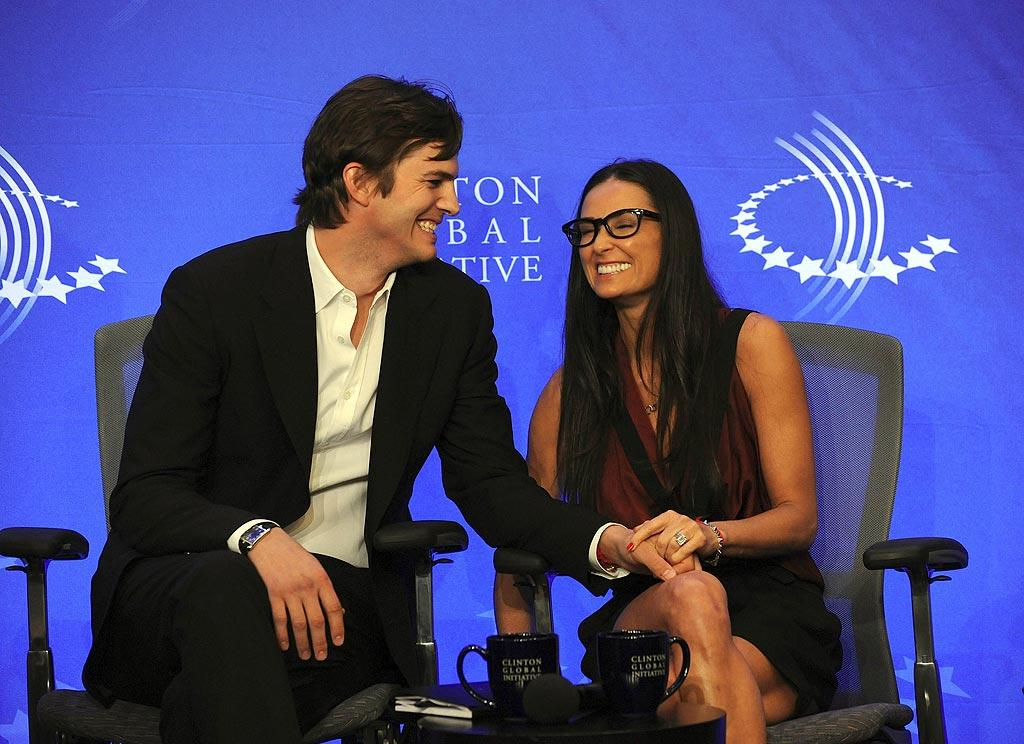 """Although <i>Star</i> magazine recently claimed that Ashton Kutcher cheated on his wife Demi Moore, the couple presented a united front at the Clinton Global Initiative conference in NYC Thursday, where they announced their """"Real Men Don't Buy Girls"""" campaign in an effort to stop child sex slavery. The couple celebrated five years of wedded bliss on September 24. <a href=""""http://www.infdaily.com"""" target=""""new"""">INFDaily.com</a> - September 23, 2010"""