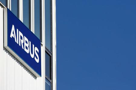 A logo of Airbus is seen on a wall at Airbus headquarters in Blagnac