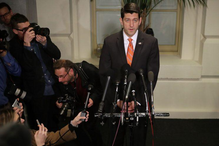 House Speaker Paul Ryan delivers brief remarks and takes no questions following a Thursday meeting of the House Republican caucus. (Photo: Chip Somodevilla/Getty Images)
