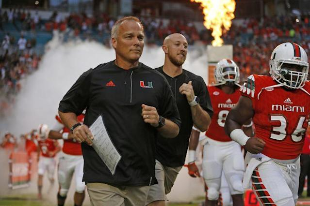Miami coach Mark Richt took a veiled shot at Clemson with a comment about its new slide. (Getty)