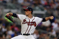 Atlanta Braves starting pitcher Max Fried works in the first inning of a baseball game against the New York Mets, Monday, May 17, 2021, in Atlanta. (AP Photo/John Bazemore)