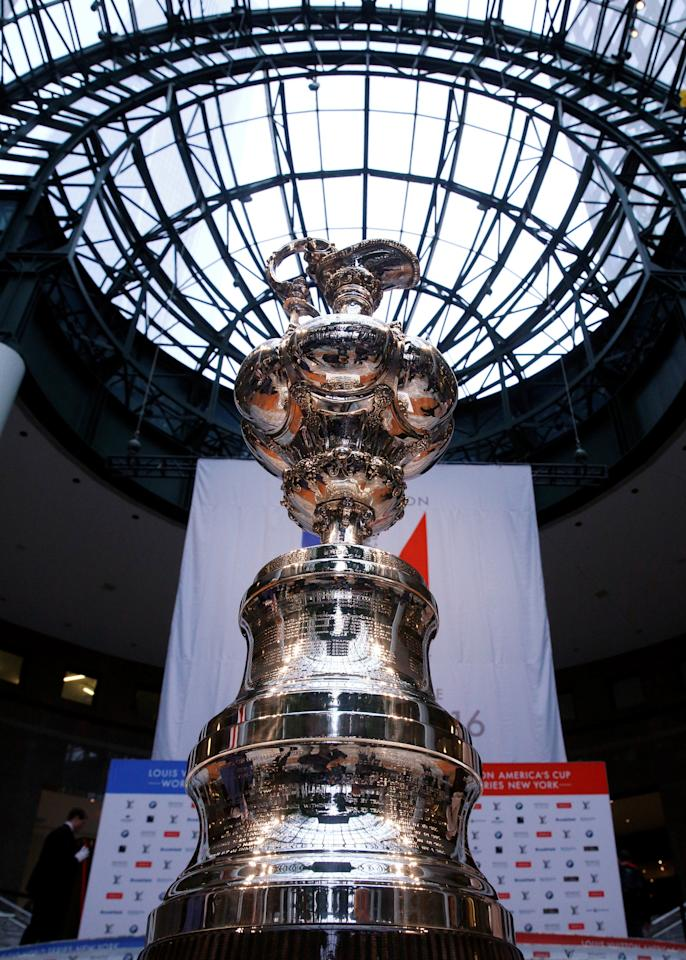 The America's Cup is displayed during a news conference ahead of the America's Cup World Series sailing event in New York City, U.S., May 5, 2016. REUTERS/Brendan McDermid