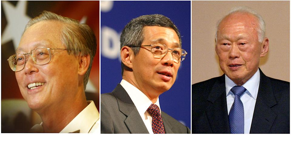 """Combination picture shows from left to right., Goh Chok Tong, Lee Hsien Loong, and Lee Kuan Yew  in these undated mugs in Singapore. Lee Hsien Loong, Singapore's prime minister-designate, Aug 10, 2004  appointed a new government where his 80-year-old father, founding prime minister Lee Kuan Yew, stays in the Cabinet with a new title of """"minister mentor"""" while outgoing prime minister Goh Chok Tong will take his place as senior minister, the number two position of power, while also heading the central bank. (AP Photo/Wong Maye-e)"""
