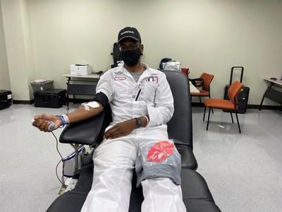 Associates at Honda's Georgia Transmission Plant in Tallapoosa held a blood drive as part of Team Honda Week(s) of Service and collected 19 pints of blood. Here, Justin Williams, donates blood.