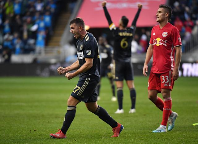 Philadelphia Union defender Kai Wagner (27) reacts after the first MLS playoff win in franchise history on Sunday. (USA Today)