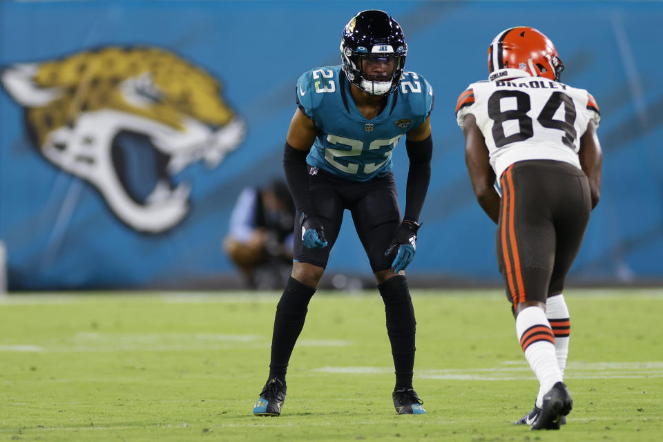 CJ Henderson (23) was traded from Jacksonville to Carolina. (Photo by David Rosenblum/Icon Sportswire via Getty Images)