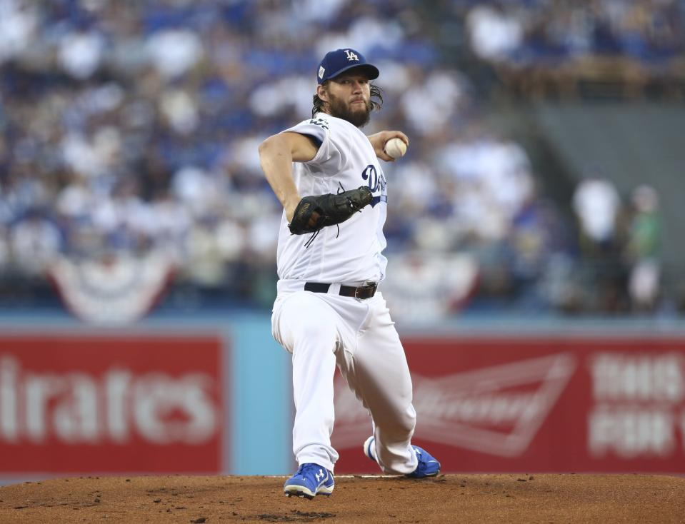 Los Angeles Dodgers starting pitcher Clayton Kershaw throws during the first inning of Game 1 of baseball's World Series against the Houston Astros Tuesday, Oct. 24, 2017, in Los Angeles. (AP)