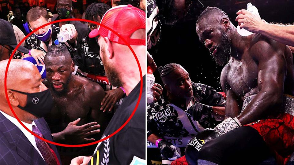 Tyson Fury attempts to shake Deontay Wilder's hand (pictured right) and (pictured right) Deontay Wilder in between rounds in his corner.