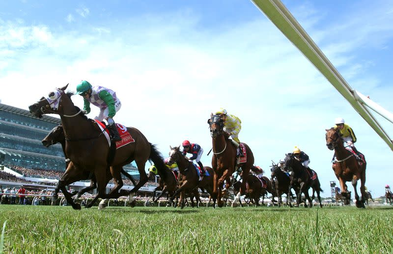 FILE PHOTO: Prince of Penzance ridden by Michelle Payne wins race 7 the Melbourne Cup during the Melbourne Cup during the Melbourne Cup race day at Flemington Racecourse