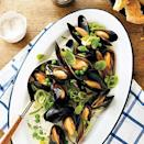 """<p>Farmed mussels are a <a href=""""https://www.myrecipes.com/news/how-to-know-if-seafood-is-sustainable"""" rel=""""nofollow noopener"""" target=""""_blank"""" data-ylk=""""slk:sustainable choice"""" class=""""link rapid-noclick-resp"""">sustainable choice</a>. If you can't find fresh peas, use frozen.</p>"""