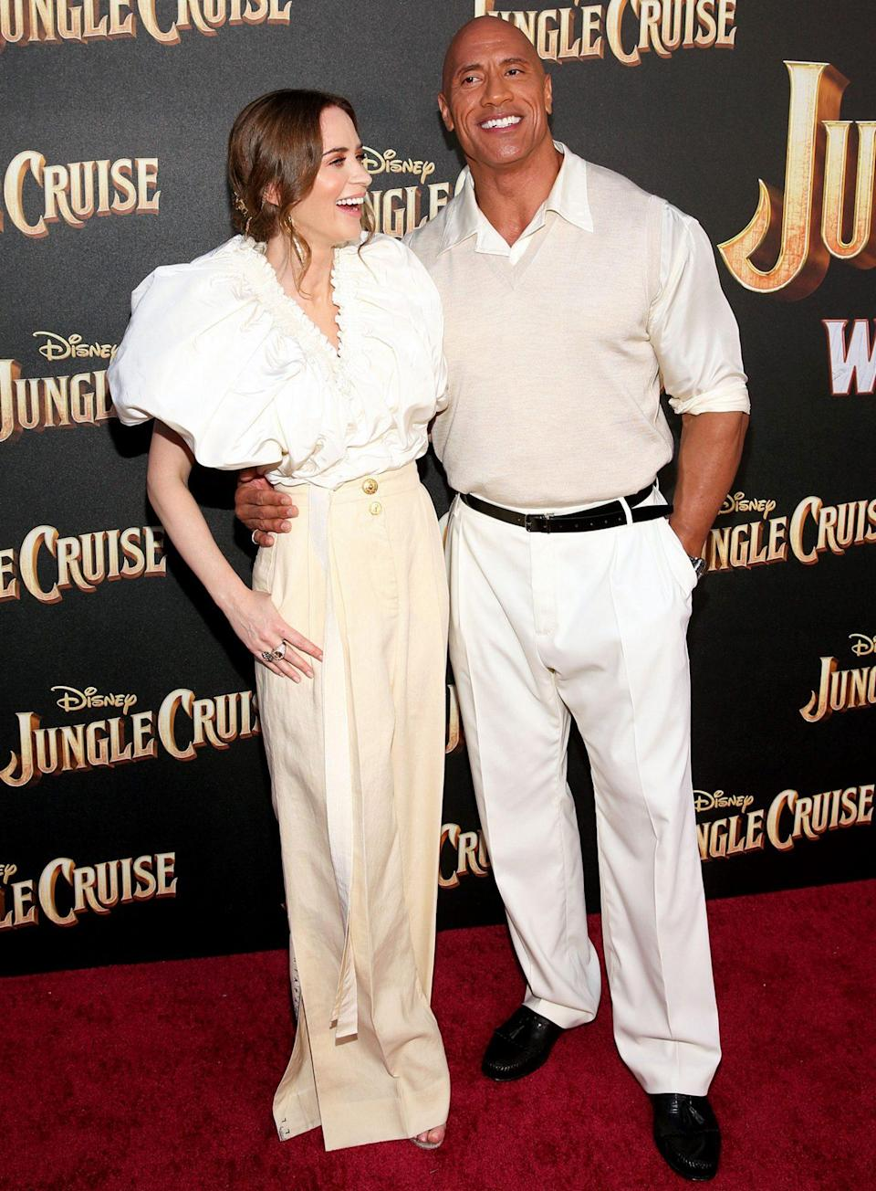 <p>Emily Blunt and Dwayne Johnson arrive in style at the world premiere of <em>Jungle Cruise</em> at Disneyland in Anaheim.</p>