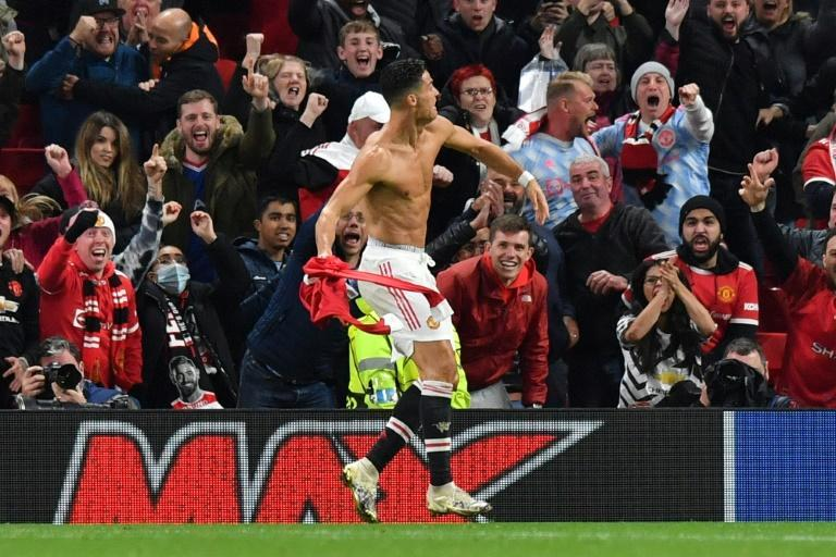 Just in time: Cristiano Ronaldo rescued Manchester United with a stoppage-time winner against Villarreal (AFP/Anthony Devlin)