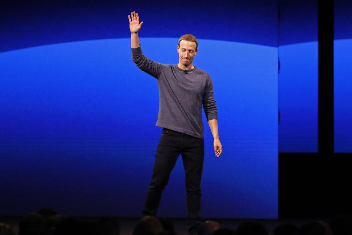 Facebook CEO Mark Zuckerberg leaves after his keynote speech during Facebook Inc's annual F8 developers conference in San Jose, California, U.S., April 30, 2019. REUTERS/Stephen Lam
