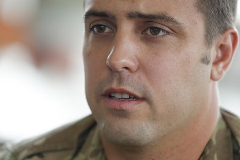 U.S. Air Force Master Sargent Derek Anderson talks about the risky operation of extracting the trapped boys and their soccer coach to Associated Press during an exclusive interview in Chiang Rai province, northern Thailand, Wednesday, July 11, 2018. Andersen explained the long challenging dives the boys had to endure in zero visibility through long narrow passageways to exit the flooded cave after 18 days of being trapped. (AP Photo/Vincent Thian)
