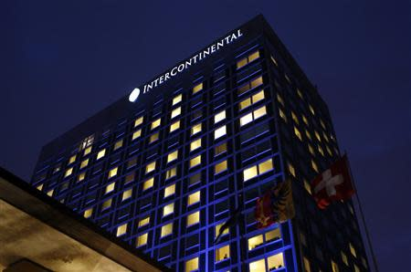 The night falls on the Intercontinental hotel where talks are being held in Geneva November 23, 2013. REUTERS/Denis Balibouse