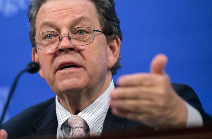 Economist Arthur Laffer speaks about the economy during a panel discussion at the Heritage Foundation on December 18, 2014 in Washington, DC. AFP PHOTO / SAUL LOEB (Photo credit should read SAUL LOEB/AFP/Getty Images)