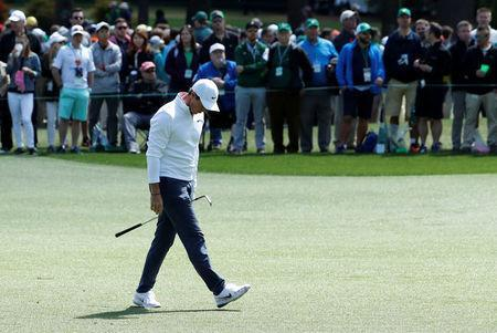 Rory McIlroy of Northern Ireland walks up the third fairway during final round play of the 2018 Masters golf tournament at the Augusta National Golf Club in Augusta, Georgia, U.S. April 8, 2018. REUTERS/Jonathan Ernst