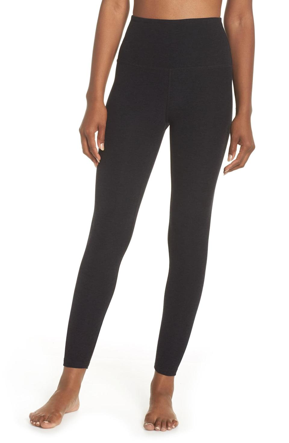 <p>The fabric of these <span>Beyond Yoga Midi High-Waisted Leggings</span> ($97) is so good that you'll never want to take it off.</p>