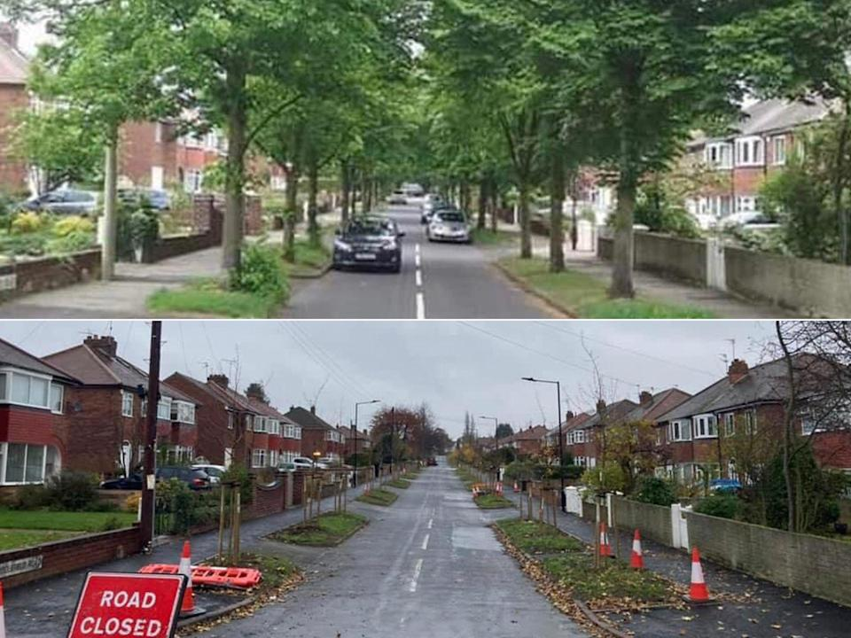 Middlefield Road in Bessacarr. The top photograph shows the trees in full leaf before 60 were cut down, and below, a recent photograph taken from the same spot shows the road now (Sera Serfozo/Richard Needham)