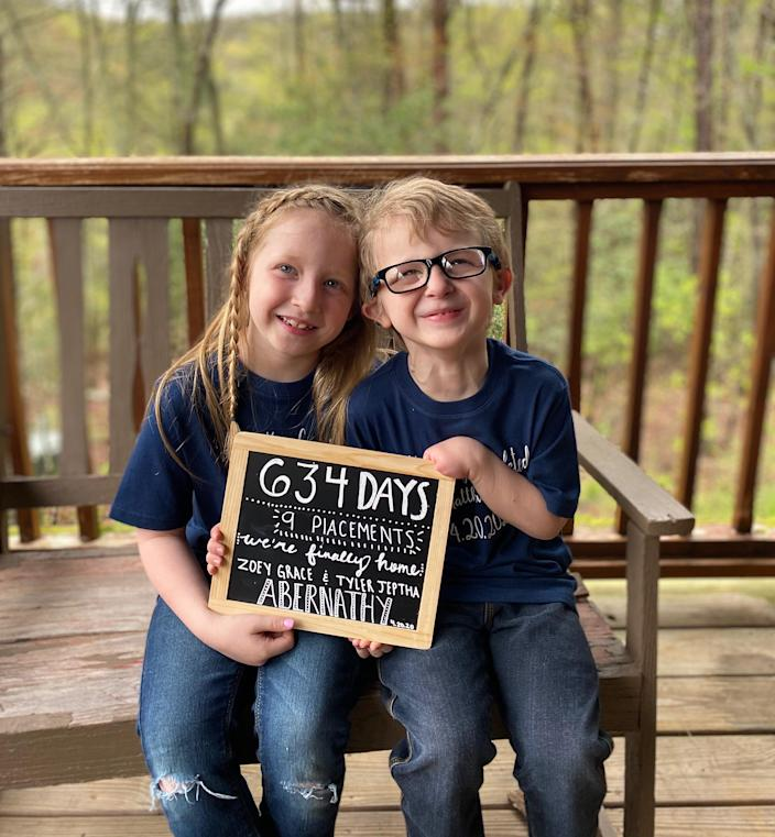 Tyler and Zoey are pictured after their adoption into the Abernathy family became official on April 20, 2020. (Abernathy Family)