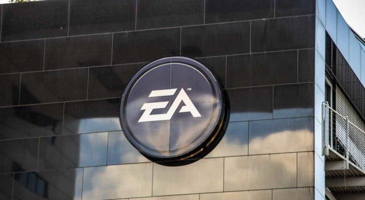 Electronic Arts (EA) logo on a wall