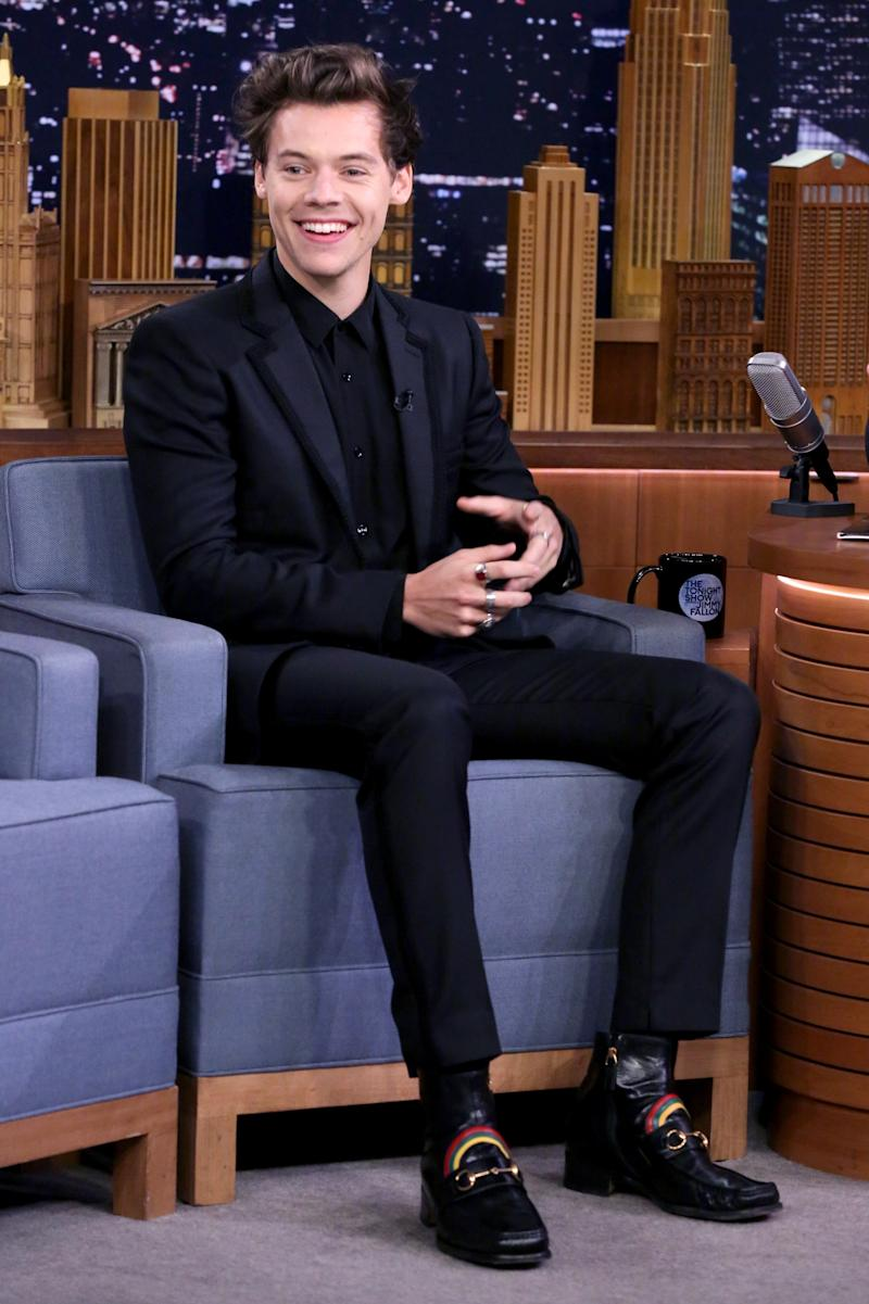 Wearing Gucci while appearing on The Tonight Show Starring Jimmy Fallon in New York City.