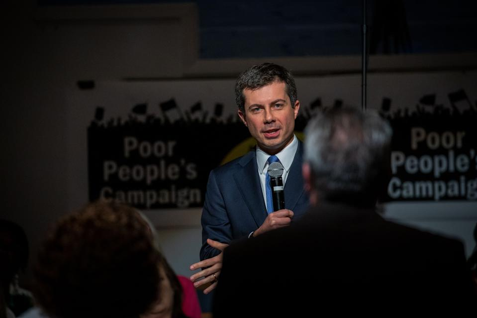 South Bend, Indiana mayor and Democratic presidential candidate, Pete Buttigieg, takes part in a discussion about how to address poor America during a Sunday morning serviceat Greenleaf Christian Church in Goldsboro, North Carolina on December 1, 2019. (Photo by Logan Cyrus / AFP) (Photo by LOGAN CYRUS/AFP via Getty Images)