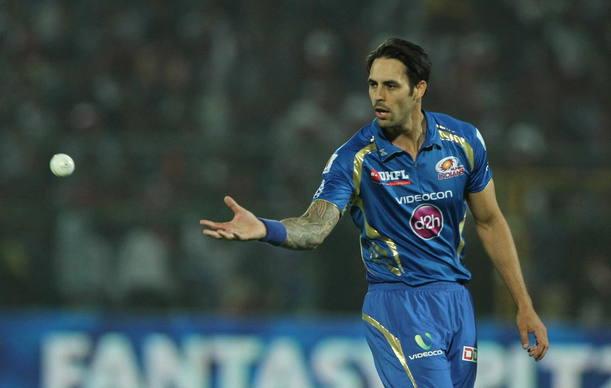 Mumbai Indian player Mitchell Johnson during match 23 of the Pepsi Indian Premier League ( IPL) 2013  between The Rajasthan Royals and the Mumbai Indians held at the Sawai Mansingh Stadium in Jaipur on the 17th April 2013..Photo by Deepak Malik-IPL-SPORTZPICS ..Use of this image is subject to the terms and conditions as outlined by the BCCI. These terms can be found by following this link:..https://ec.yimg.com/ec?url=http%3a%2f%2fwww.sportzpics.co.za%2fimage%2fI0000SoRagM2cIEc&t=1498609117&sig=UV40ChPQ1Cn2EkciGCLAXg--~C