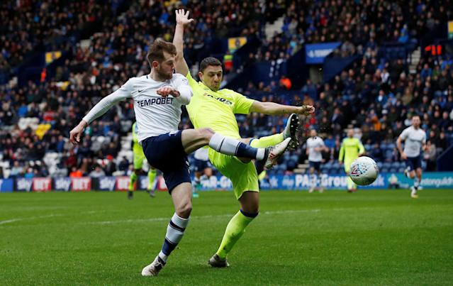 "Soccer Football - Championship - Preston North End vs Derby County - Deepdale, Preston, Britain - April 2, 2018 Preston North End's Tom Barkhuizen has an attempt on goal Action Images/Craig Brough EDITORIAL USE ONLY. No use with unauthorized audio, video, data, fixture lists, club/league logos or ""live"" services. Online in-match use limited to 75 images, no video emulation. No use in betting, games or single club/league/player publications. Please contact your account representative for further details."