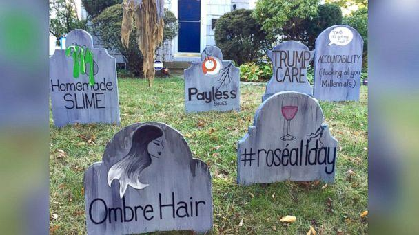 PHOTO: The homemade gravestones bid adieu to ombre hair and #roseallday trends. (Michael Fry)