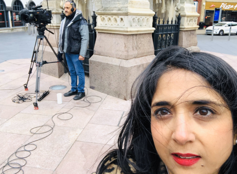 BBC reporter Sima Kotecha said she and her team were subjected to racist abuse in Leicester on Sunday (Sima Kotecha/Twitter)