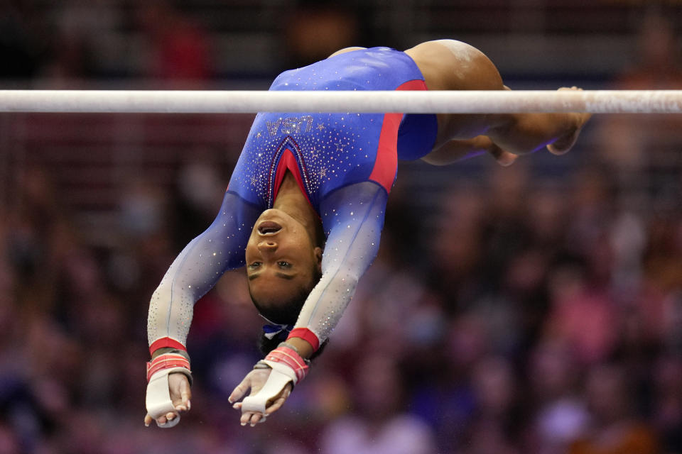 Jordan Chiles competes on the uneven bars during the women's U.S. Olympic Gymnastics Trials Friday, June 25, 2021, in St. Louis. (AP Photo/Jeff Roberson)