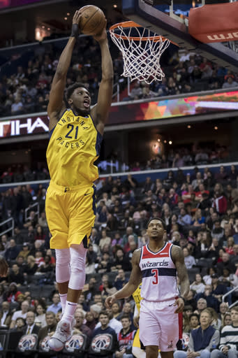 WASHINGTON, DC - FEBRUARY 23: Thaddeus Young #21 of the Indiana Pacers dunks the ball against the Washington Wizards during the first half at Capital One Arena on February 23, 2019 in Washington, DC. (Photo by Scott Taetsch/Getty Images)
