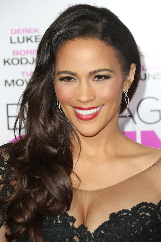 """LOS ANGELES, CA - SEPTEMBER 25: Actress Paula Patton attends the premiere of Fox Searchlight Pictures' """"Baggage Claim"""" at the Regal Cinemas L.A. Live on September 25, 2013 in Los Angeles, California. (Photo by Frederick M. Brown/Getty Images)"""