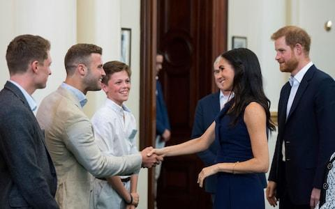 The Duke and Duchess meet a familiar face in the form of Hunter Johnson, chief executive of Man Cave - Credit: PA