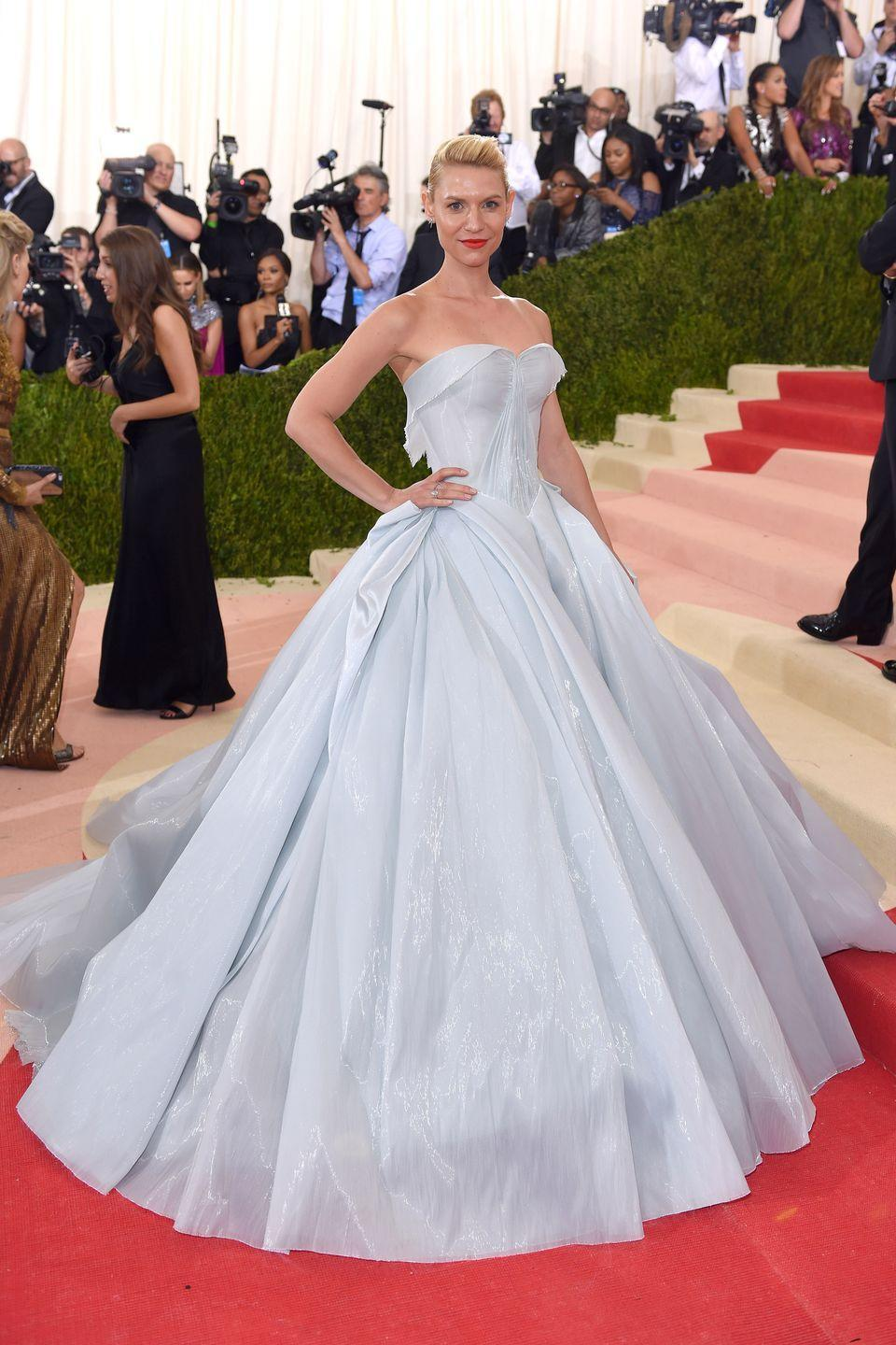 <p>Claire Danes wore a sky blue dress reminiscent of Cinderella's famous gown to the 2016 Met Gala in New York. (Fun fact: Designer Zac Posen made the dress with fiber optics so that the gown could light up in the dark.) </p>