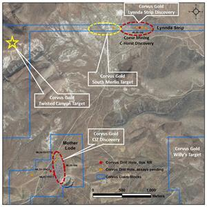 Location map for new CIZ and Lynnda Strip drill holes, Mother Lode Project, East Bullfrog Mining District, Nevada