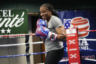 USA Boxing team member Naomi Graham takes part in drills during a media day for the team in Colorado Springs, Colo., Monday, June 7, 2021. Graham has balanced the demands on her time splendidly in the past few years, and she persevered through the Olympic delay caused by the coronavirus pandemic with a focus 10 years in the making. Graham will be the first female active-duty soldier to fight in the Olympics, and she relishes the history she's making. (AP Photo/David Zalubowski)
