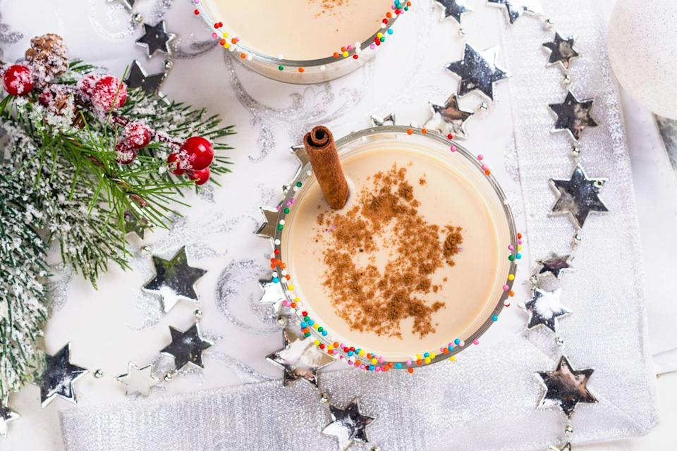 """<p>If you've never tried this frothy holiday beverage, now's the time to double down. Make a batch from scratch, then enjoy it fireside. </p><p><em>Learn how to make Eggnog at <a href=""""https://www.howsweeteats.com/2018/12/eggnog-white-russian/"""" rel=""""nofollow noopener"""" target=""""_blank"""" data-ylk=""""slk:How Sweet Eats"""" class=""""link rapid-noclick-resp"""">How Sweet Eats</a>. </em></p>"""