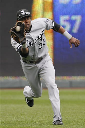 Chicago White Sox left fielder Alejandro De Aza makes a running catch on a fly ball from Kansas City Royals' Eric Hosmer during the fourth inning of a baseball game at Kauffman Stadium in Kansas City, Mo., Sunday, May 5, 2013. (AP Photo/Colin E. Braley)