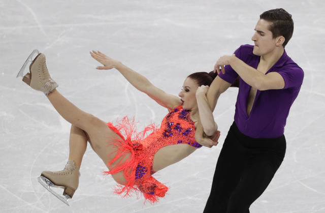 <p>Marie-Jade Lauriault and Romain Le Gac of France perform during the ice dance, short dance figure skating in the Gangneung Ice Arena at the 2018 Winter Olympics in Gangneung, South Korea, Monday, Feb. 19, 2018. (AP Photo/David J. Phillip) </p>