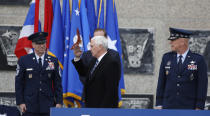 Vice President Mike Pence arrives on stage to speak at the graduation ceremony for the class of 2020 at the U.S. Air Force Academy Class of 2020 Saturday, April 18, 2020, at Air Force Academy, Colo. (AP Photo/David Zalubowski)