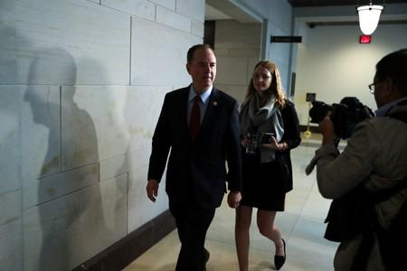 U.S. House Intelligence Committee Chairman Schiff walks to the committee offices on Capitol Hill in Washington