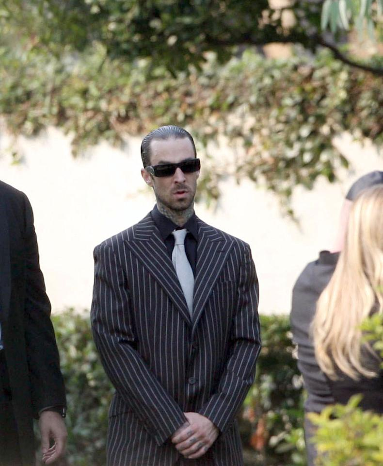 """Blink-182 drummer Travis Barker, who performed with DJ AM as TRV$DJAM, was among those who <a href=""""http://omg.yahoo.com/news/dj-am-laid-to-rest/27283"""" target=""""_blank"""">attended Adam Goldstein's funeral service in LA on Wednesday</a>. <a href=""""http://www.infdaily.com"""" target=""""new"""">INFDaily.com</a> - September 2, 2009"""