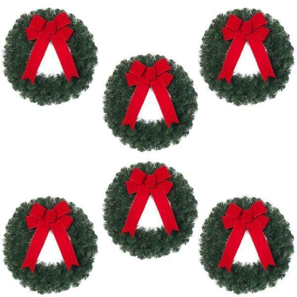 "<p><strong>Home Accents Holiday</strong></p><p>homedepot.com</p><p><strong>$59.98</strong></p><p><a href=""https://go.redirectingat.com?id=74968X1596630&url=https%3A%2F%2Fwww.homedepot.com%2Fp%2FHome-Accents-Holiday-20-in-Unlit-Artificial-Christmas-Wreath-with-Red-Bow-Set-of-6-2109940HDX6%2F301685019&sref=https%3A%2F%2Fwww.elledecor.com%2Fdesign-decorate%2Ftrends%2Fg2835%2Foutdoor-christmas-decorations%2F"" rel=""nofollow noopener"" target=""_blank"" data-ylk=""slk:Shop Now"" class=""link rapid-noclick-resp"">Shop Now</a></p><p>Have fun and use these three varied wreaths to create the body of the snowman.</p>"